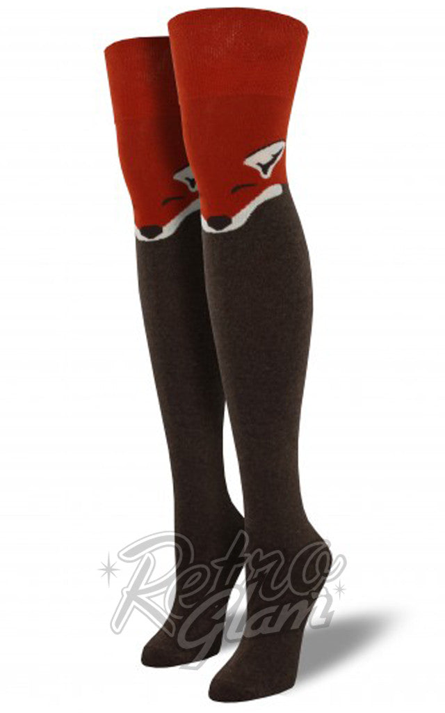 Over the Knee Fox Socks in Heather Brown