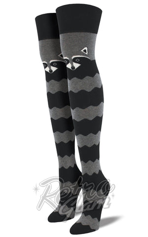 Racoon Over the Knee Socks in Grey