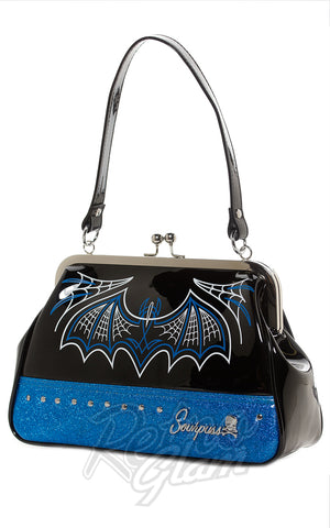 Sourpuss Batty Pinstripe Purse in Blue side