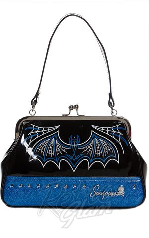 Sourpuss Batty Pinstripe Purse in Blue