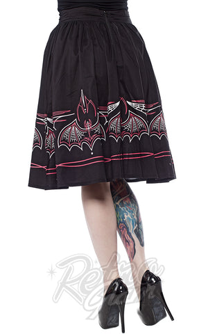 Sourpuss Batty Pinstripe Skirt in Black & Pink back