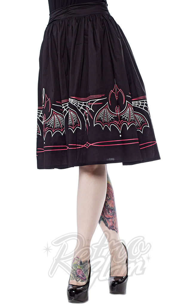Sourpuss Batty Pinstripe Skirt in Black & Pink