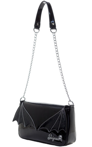 Sourpuss Bat Wing Clutch Purse in Black side