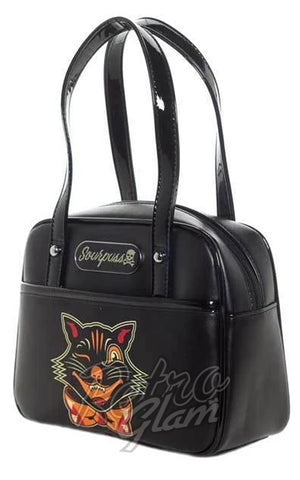 Sourpuss Black Cat Mini Bowler Purse side