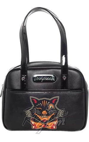 Sourpuss Black Cat Mini Bowler Purse