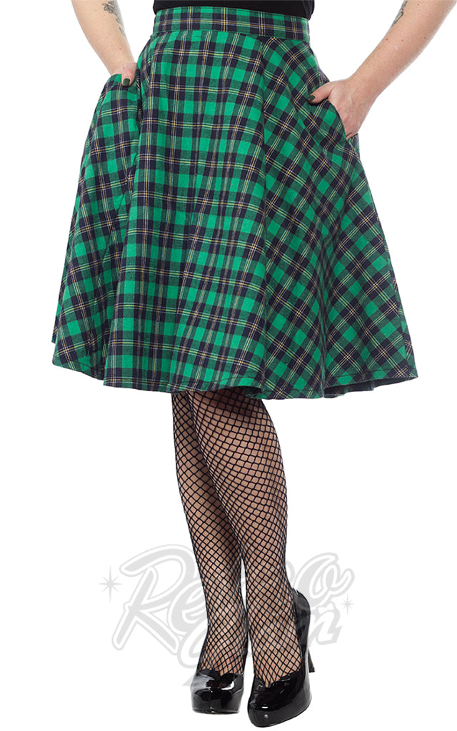 Sourpuss Bonnie Skirt in Green Plaid