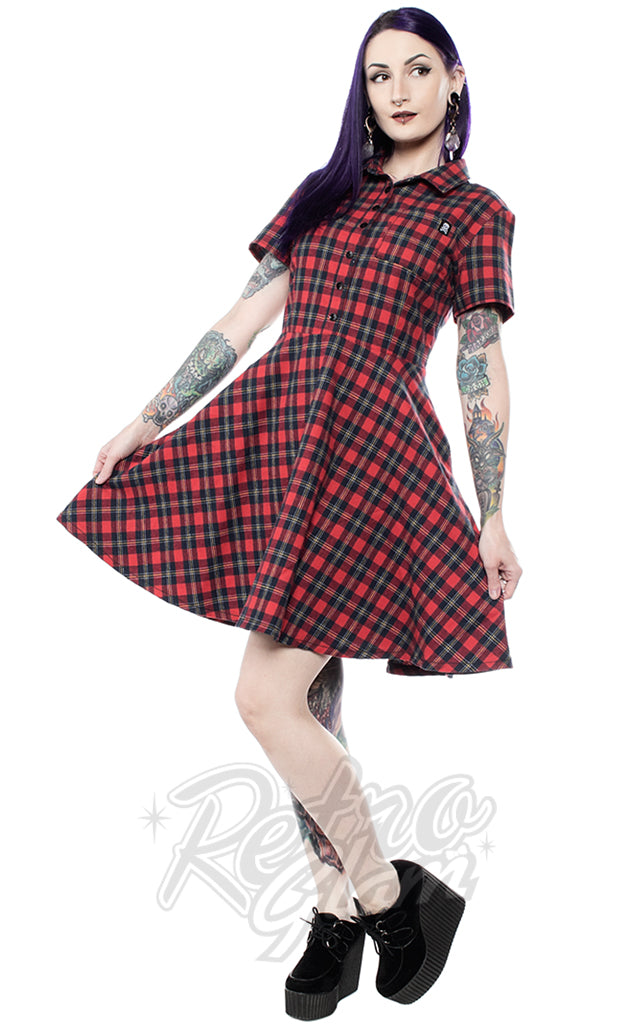 Sourpuss Plaid Button Down Dress in Red