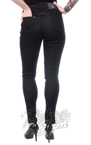 Sourpuss 5 Pocket Stretch Jeans in Black back