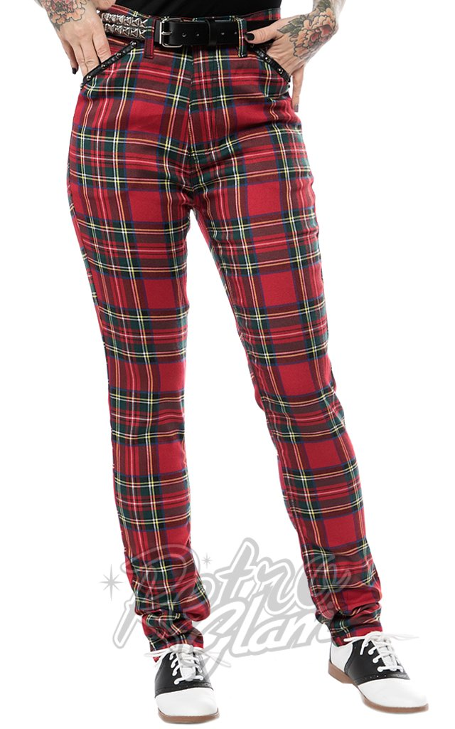 Sourpuss Essential Plaid Studded Pants