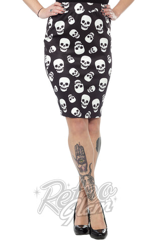 Sourpuss Lust For Skulls Pencil Skirt