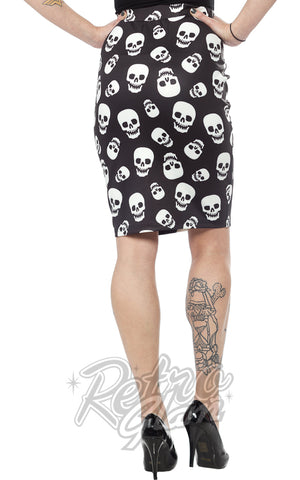 Sourpuss Lust For Skulls Pencil Skirt Back
