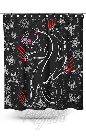 Sourpuss Crawling Panther Shower Curtain