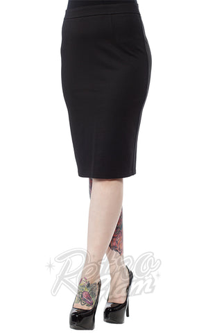 Sourpuss Knit Pencil Skirt in Black