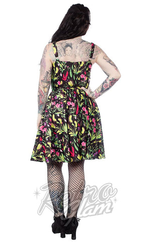 Sourpuss Sophia Dress in Deadly Beauties Print back