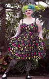 Sourpuss Sophia Dress in Deadly Beauties Print curvy