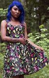 Sourpuss Sophia Dress in Deadly Beauties Print model
