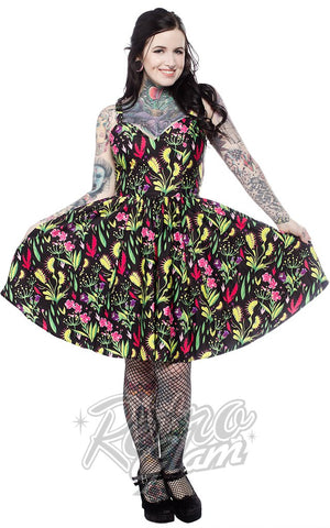 Sourpuss Sophia Dress in Deadly Beauties Print