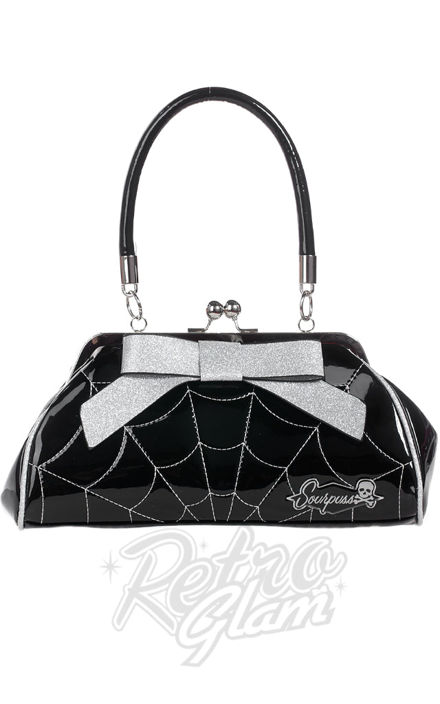 Sourpuss Spiderweb Floozy Purse in Black & Silver