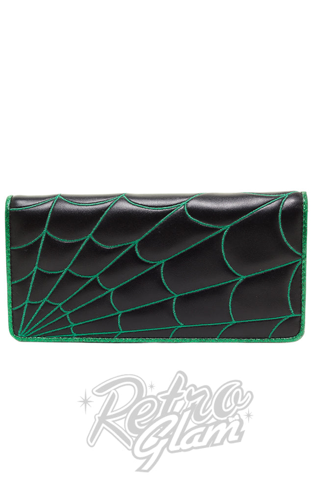 Sourpuss Spiderweb Wallet in Black and Green