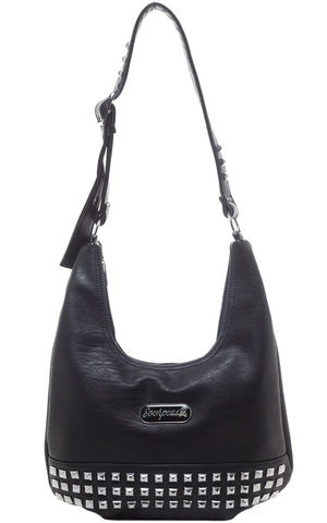 Sourpuss Studded Hobo Purse in Black
