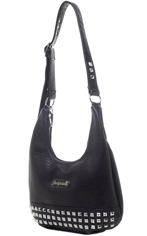 Sourpuss Studded Hobo Purse in Black Side