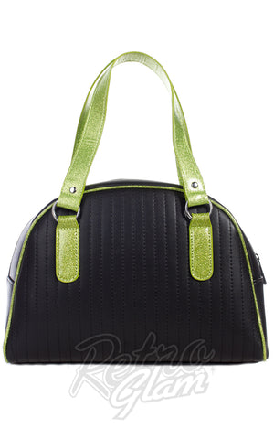 Sourpuss Jinx Tuck and Roll Purse in Black & Green back