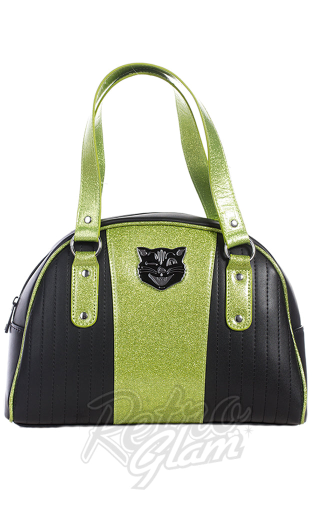 Sourpuss Jinx Tuck and Roll Purse in Black & Green