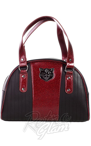 Sourpuss Jinx Tuck and Roll Purse in Black & Red