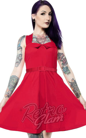 Sourpuss Veronica Dress in Red detail