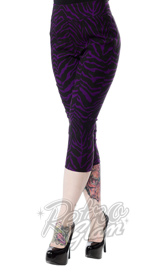 Sourpuss Zebra Sugar Pie Capris in Purple