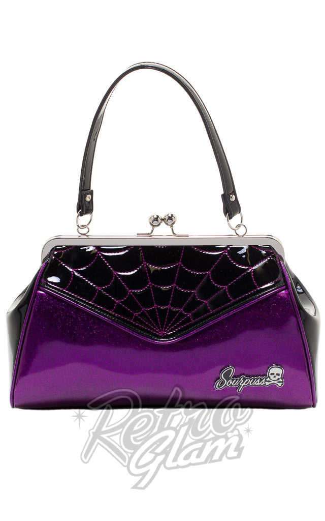 Sourpuss Backseat Baby Spiderweb Purse in Black & Purple