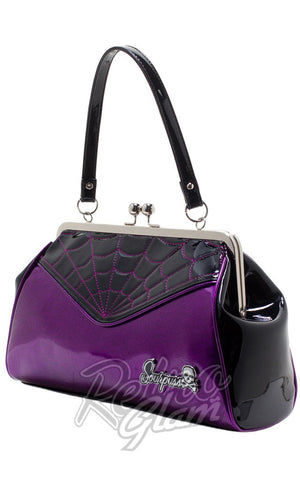 Sourpuss Backseat Baby Spiderweb Purse in Black & Purple side