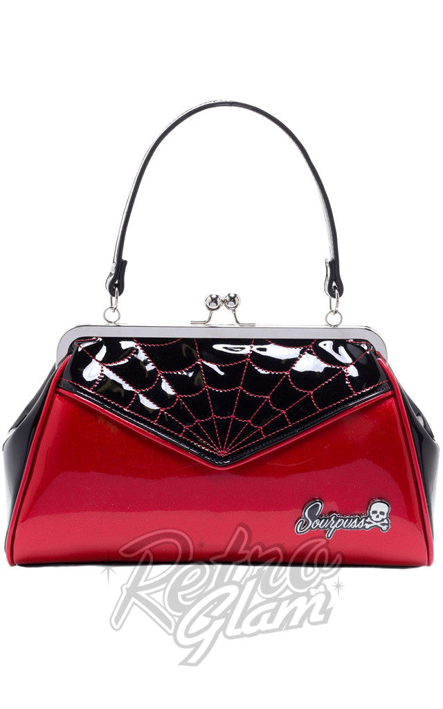 Sourpuss Backseat Baby Spiderweb Purse in Black & Red