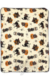 Sourpuss soft fleece cream Black Cats and pumpkins Blanket