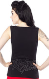 Sourpuss sweetheart neckline Floozy sleeveless top in Black back