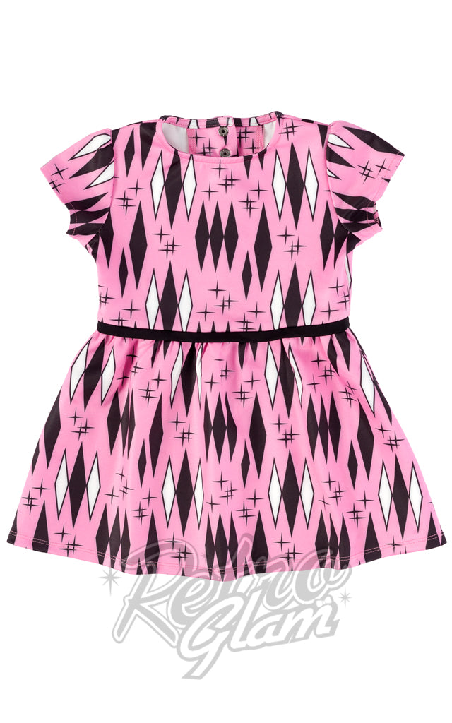 Sourpuss Pink Retro Diamond Kids Dress