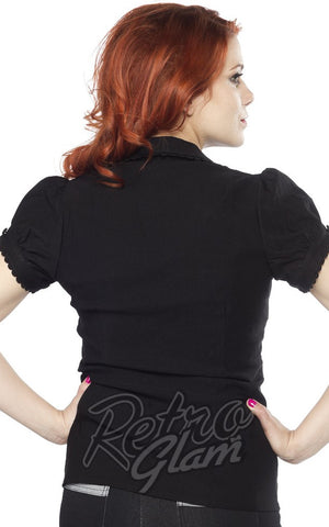 Sourpuss Lolita button down Top in Back with princess sleeves and scalloped edges back