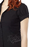 Sourpuss Lolita button down Top in Back with princess sleeves and scalloped edges cropped detail