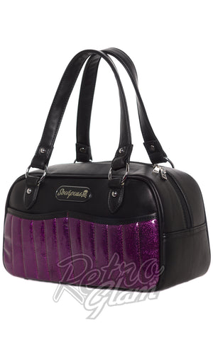 Sourpuss rockabilly Sabrina Purse in Purple sparkle side