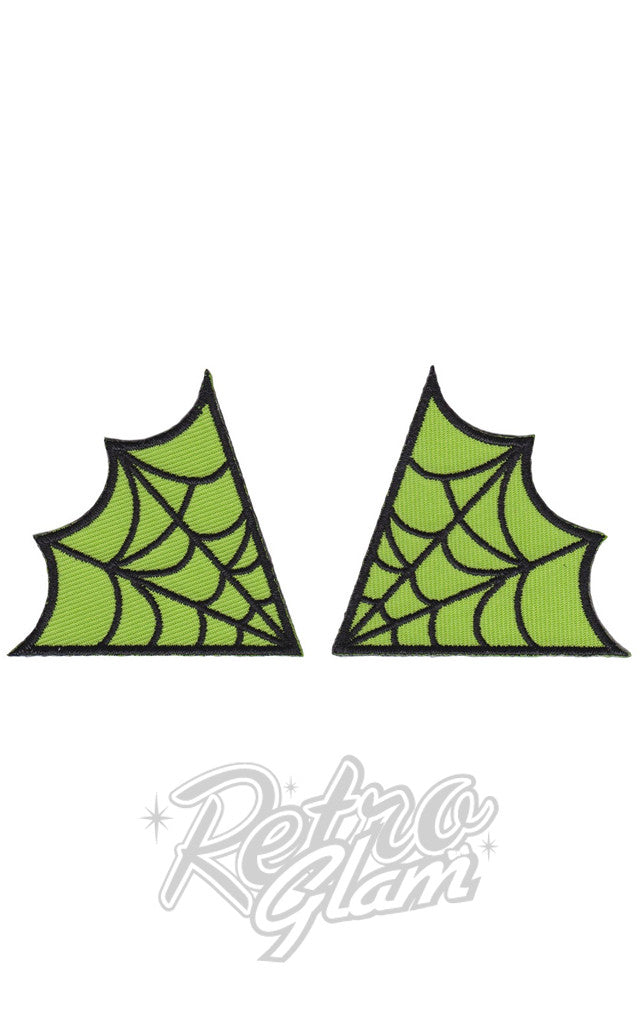 Sourpuss Spiderweb Patches in Green