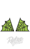 Sourpuss embroidered iron on Spiderweb Patches in Green