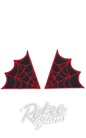 Sourpuss Spiderweb Patches in Red