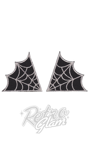 Sourpuss embroidered Spiderweb Patches in Silver