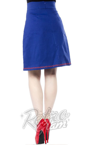 Sourpuss Suzie Skirt in cobalt Blue with red emboidered Octopus applique on pockets full length back