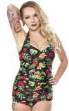 Sourpuss Tropicthulhu One Piece Swimsuit front