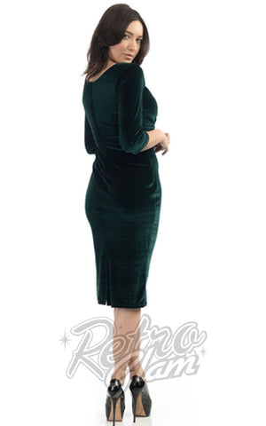 Steady Clothing Diva 3/4 Sleeve Dress in Forest Green Velvet Back