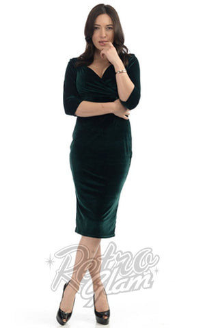 Steady Clothing Diva 3/4 Sleeve Dress in Forest Green Velvet