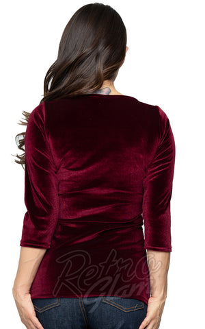 Steady Velvet Diva Top in Burgundy back