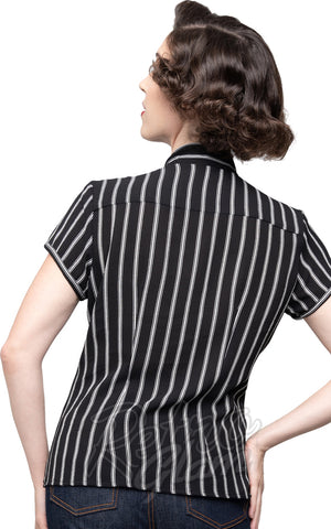Steady Harlow Top in Black & White Stripes back