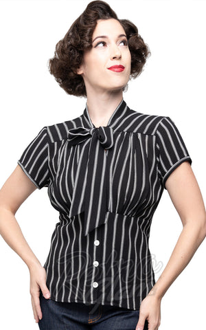 Steady Harlow Top in Black & White Stripes